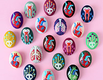 Kogin Embroidered Anatomy Brooches