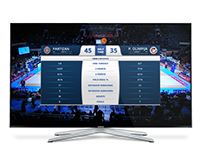 ABA basketball TV scoreboard and statistics