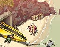 """Drug Baron's Escape"" (fragment of a pixelart fresco)"