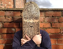 Santiago. The illustrated skateboard deck