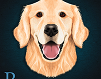 Digitally painted Golden retriever dog in Photoshop CC