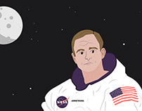 One Small Step for Man - Neil Armstrong Illustration