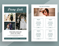 Photography Pricing Guide Flyer, Wedding Pricing Guide
