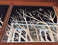 Christmas window display for Cocoa Amore