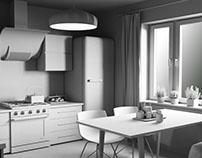 Kitchen monochrome renders. Corona Renderer practice