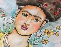 Frida kahlo em aquarela