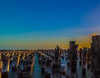 Pylons at Princes Pier in Melbourne Australia