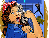 John Royle:  Caitlin Moran as Rosie the Riveter for GQ