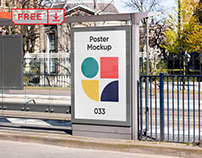 Free Poster on Bus Stop Mockup