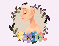 Flower Girl Vector Portrait