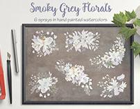 Watercolor sprays in smoky grey florals