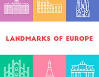 Landmarks of Europe Line Art