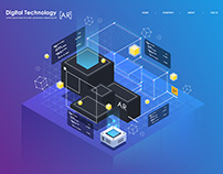 isometric tech illustration