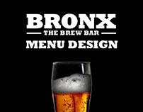 Bronx Brew Bar Menu Design