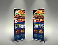 Burger Restaurant Signage Roll Up Banner Vol.8