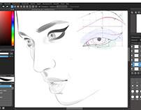 Drawing Eyes Makeup, Fashion Illustration In Progress