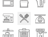 Free line icons kitchen appliances (video process)