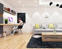 #livingroom #office #grey #wood #yellow