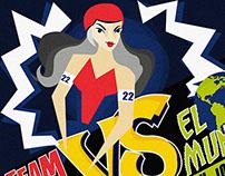 Afiche difusión partido Roller Derby Team Chile