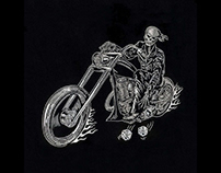 Skeletal Bike Rider Haunting Embroidery Design