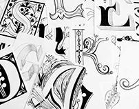 ABC hand-drawn alphabet monogram drop caps