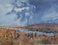 """Before the rain"" paper watercolor 15x20"