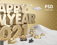 Happy New Year 2021 GOLD / 4000×2500 pixels / PSD
