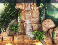 Artificial sculptures, waterfalls visualization