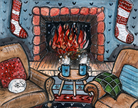 Cozy fireplace watercolor illustration