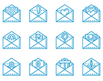 Free 18 line icons for e-mail service (video process)