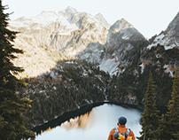 Sunrise hikes with big Maple Leaves, Washington State