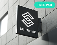 Free Hanging Wall Sign Mockup