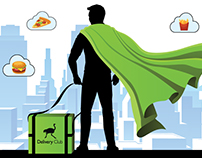 Outdoor advertising with superhero