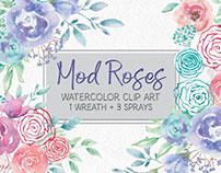 """Mod Roses"" watercolor clip art"