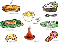 "Travel Illustrations - [self funded]- ""World Cuisine"""