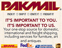 Advertisement for local PakMail shop