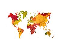 World Map - Maple & Oak Leaves