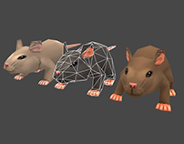Low Poly Hand Painted Rat