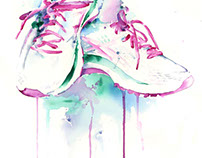"15"" x 22"" Running Shoes Watercolor"