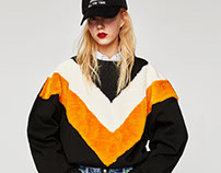 ZARA TRF_ SWEATSHIRT W/ TWO-TONE APPLIQUÉ