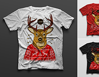 T-shirt with a hipster deer