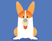 "Dogs Illustration ""Corgi"""