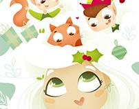 Elfa de las nieves. Ilustración infantil