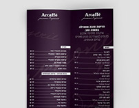 Menu design for Arcaffe'