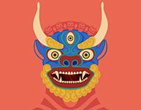 Buddhist Masks Illustrations