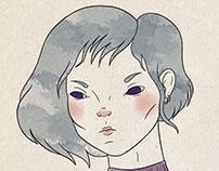 Ilustración de moda- rostros femeninos