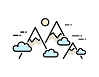 Vector linear Camping icon set