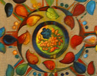 The Wagon Wheel, oil, embroidery floss on printed linen