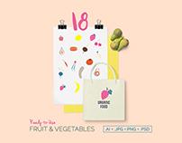 Fruits and vegetables Illustration Vector Set