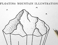 Floating Mountain Ink Illustration
